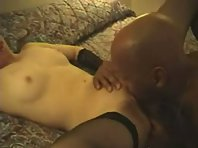 A slim and bony blonde tries to handle a massive BBC