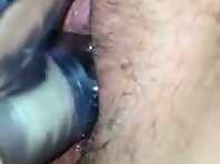 Trimmed cunt recorded in a closeup during masturbation