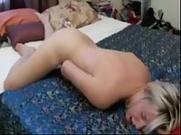 Blonde hottie shoves her fingers deep into her wet cunt