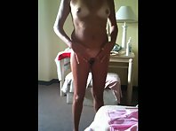 Brunette wife on vacation being filmed while nude in hotel