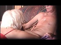 Horny wife gets down to please her partner with a nice blow job