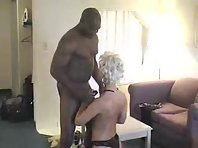 A silver haired babe gets his lover sucked off while on her knees