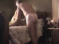 A blonde gets her slim body rammed by a mature dude