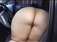 BBW wife flashing her big cunt from inside her husband's truck while he films